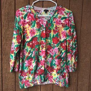 Floral Talbots Sweater Cardigan, Size L